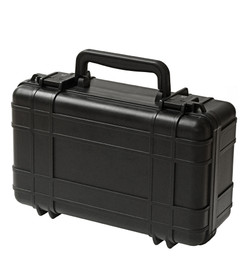 UK 716 UltraCase Product Protector - Closed black travel carry case with ridges, black clips, and black handle.