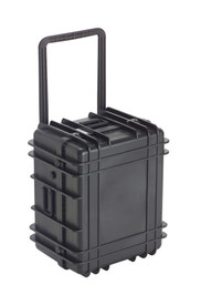 UK 1322 Transit Case Protector - Large wide Black plastic hard shell upright case with square pull  handle.