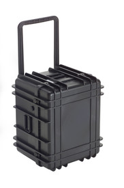 UK 1622 Transit Case Protector - Fat Black Hard-shell case with handle pulled upward.