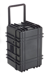 UK 1627 Transit Case Protector - Fat and Tall Black Hard-shell case with handle pulled upward.
