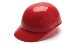 Pyramex Ridgeline Bump Cap  - Red standard cap style hard hat with large front visor and ridgeline bump sides, angled front view