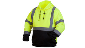 Pyramex Class 3 Hi-Viz Hoodie - Front view of black bottom and Hi-Viz yellow top hooded pullover sweatshirt with drawstring hood and front pouch pocket and silver reflective tape around the upper waist and 2 silver reflective tape going from the horizontal tap up to both shoulders and down over the back and 2 silver reflective tape on each arm around the wrist and above the elbow