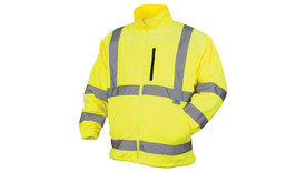 Pyramex Class 3 Hi-Visibility Jacket - Front view of Hi-Viz yellow front zipper Jacket with a collar 2 front slash pockets on left and right side of zipper at the waist area and 1 pocket on the upper left chest and silver reflective tape around the upper waist and around lower chest and 2 silver reflective tape going from the horizontal tape at the lower chest up to both shoulders and down over the back and 2 silver reflective tape on each arm around the wrist and below the elbow