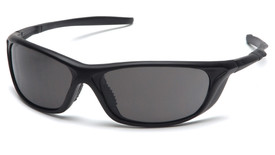 Pyramex Azera Safety Glasses Scratch Resistant - Black frame safety glasses with gray lenses and scratch resistant glass, angled front view