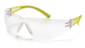 Pyramex Cortez Safety Glasses with Rubber Temple - Clear frame safety glasses with clear lenses and yellow rubber temples, angled front view