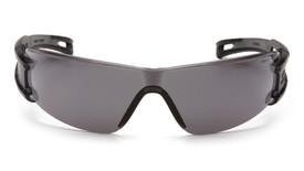 Pyramex Endeavor 3 Adjustment Safety Glasses - Frameless safety glasses with gray lenses and gray temples, front view