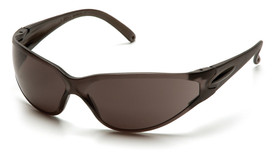 Pyramex Fastrac Scratch Resistant Safety Glasses - Gray full frame safety glasses with gray lenses and scratch resistant glass, angled front view
