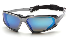 Pyramex Highlander Soft Foam Comfort Safety Glasses - Silver and black full frame safety glasses with blue mirrored lenses, comfortable foam padding, and back cord, angled front view