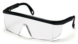 Pyramex Integra Scratch Resistant Safety Glasses - Black half frame safety glasses with clear scratch resistant lenses, angled front view