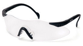 Pyramex Intrepid Frameless Safety Glasses - Black temple frameless safety glasses with clear lenses and comfortable rubber slip nose pads, angled front view