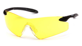 Pyramex Intrepid II Extra Wide Nose Safety Glasses - Black and gray temple frameless safety glasses with amber lenses, angled front view