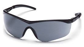 Pyramex Mayan Sleek Adjustable Safety Glasses - Black half frame adjustable safety glasses with gray lenses, angled front view