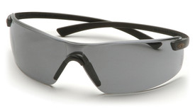 Pyramex Montego Flex-Lite Temples Safety Glasses - Lightweight frameless safety glasses with black flexible temples and gray lenses, angled front view