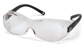 Pyramex OTS Fit Over Safety Glasses - Clear frame safety glasses with clear anti fog lenses, black temples, and side protection, angled front view