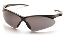 Pyramex PMXTREME Vented & Rubber Nose Safety Glasses - Black half frame adjustable safety glasses with gray anti fog lenses and back strap, angled front view