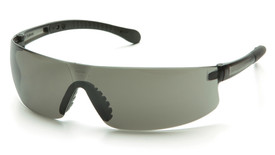 Pyramex Provoq Lightweight Safety Glasses - Lightweight gray frameless safety glasses with gray lenses and black temples, angled front view