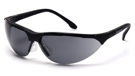 Pyramex Rendezvous Adjustable Nose Safety Glasses - Black half frame safety glasses with gray lenses and comfortable adjustable nose pads, angled front view