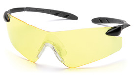 Pyramex Rotator Wrap-around Safety Glasses - Clear frameless safety glasses with amber lenses and black ergonomic curved temples, angled front view