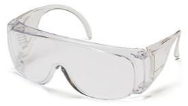 Pyramex Solo Lightweight & Vented Safety Glasses - Clear full frame safety glasses with clear lenses and peripheral protection, angled front view