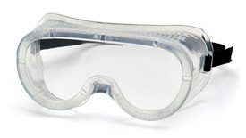 Pyramex  Perforated Scratch Resistant Goggles - Clear full frame perforated safety goggles with peripheral protection and elastic strap, angled front view