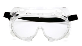 Pyramex Chemical Splash Scratch Resistant Goggles - Clear full frame splash resistant safety goggles with peripheral protection and elastic strap, front view