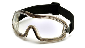 Pyramex Anti-Glare Indirect Vent Goggles - Full frame anti glare safety goggles with clear lenses and adjustable strap, angled front view