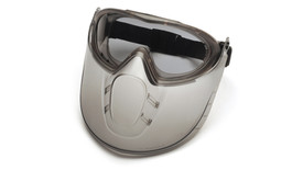 Pyramex Capstone Shield & Googles Combined - Dark tinted dual lens safety goggles with face shield attachment