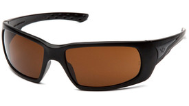 Pyramex Venture Gear Montello Anti-Fog Glasses - Front angle view of black framed glasses with brown lens