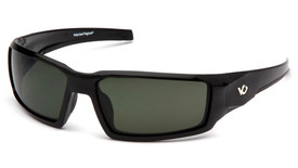 Pyramex Venture Gear Pagosa Scratch Resistant Glasses - Front Angle view of Black Framed Glasses with Black Lens