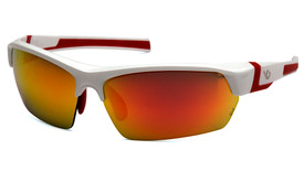 Pyramex Venture Gear Tensaw Half-Frame Glasses - Front Angle View of White Red Half Frame Safety Glasses with Red Mirror Lens
