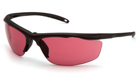 Pyramex Venture Gear Zumbro Lightweight Glasses - Front angle view of safety glasses with half bronze frame and pink lens