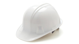 Pyramex Standard Cap Style Hard Hat - White standard cap style hard hat with front lip and low profile design, angled front view