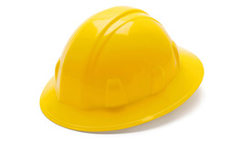 Pyramex Standard Full Brim Hard Hat - Yellow standard cap style hard hat with full brim and low profile design, angled front view