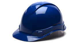 Pyramex Ridgeline Cap Style Hard Hat - Blue standard cap style hard hat with top ridgeline and front lip, angled front view