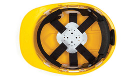 Pyramex Ridgeline Replacement 6 Point Suspension - Interior hard hat fitting straps and foam padding, shown in hard hat