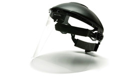 Pyramex Polyethylene Face Shield - Clear Face Shield attached to hard shell helmut