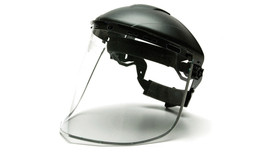 Pyramex Aluminum Bound Face Shield - Clear Face Shield attached to hard shell helmut