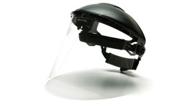 Pyramex Clear Polycarbonate Face Shield - Clear Face Shield attached to hard shell helmut