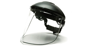 Pyramex Clear Aluminum Bound Face Shield - Clear Face Shield attached to hard shell helmut