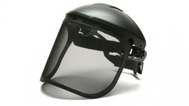 Pyramex Wire Mesh Face Shield - Steel Mesh Face Shield attached to hard shell helmut