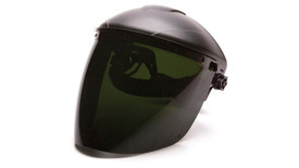Pyramex Polycarbonate Tapered IR5 Face Shield - Front angle view of Dark Green Face Shield attached to hard shell helmut