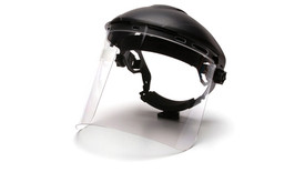 Pyramex Polycarbonate Cylinder Face Shield - Front angle view of Clear Face Shield attached to hard shell helmut