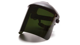 Pyramex Polycarbonate Cylinder IR5 Face Shield - Front angle view of Dark Green Face Shield attached to hard shell helmut
