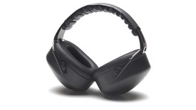 Pyramex NRR 26dB Safety Ear Muff - Black padded ear 22dB ear muffs with black foam padded over head stretch band, angled front view