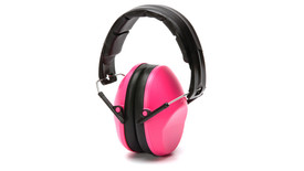 Pyramex NRR 22 dB Low Profile Safety Ear Muff - Thin 22dB low profile pink padded ear muffs with foam padded over head stretch band, angled front view