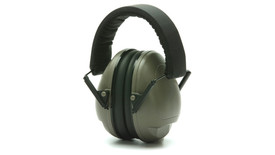 Pyramex NRR 19dB Safety Ear Muff - Collapsed low profile gray padded ear muffs with foam padded over head stretch band, angled front view