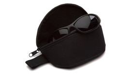 Pyramex Zippered Safety Glasses Case - Black Safety Glasses soft shell case with a zipper closure and glasses shown partially in the case