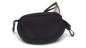 Pyramex Zippered Neoprene Safety Glasses Case - Glasses case and cloth for convenient glasses maintenance with hook, zipper, and strap