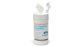 Pyramex Safety Glass Cleaning Tissue Canister - Cylindrical case of one hundred lens cleaning Towelettes with Pyramex branding, open