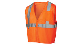 Pyramex Class 2 Mesh Hi Viz Safety Vest - Front view of Orange Hi Viz Vest with reflective tape around waist and up over both shoulders